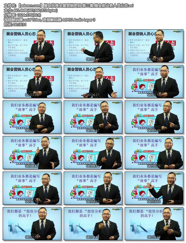 【adoncn.com】展会招商全套营销密码 第三集 展会前业务人员心态.avi