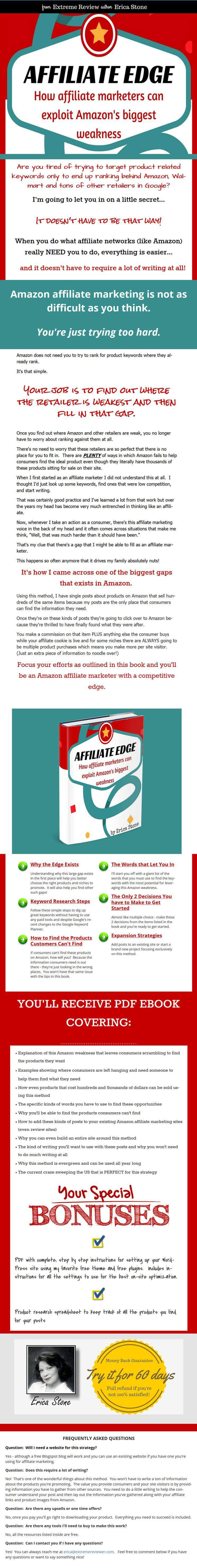 Amazon affiliate marketer - 如何利用亚马逊最大的弱点来获 得更轻松的销售和佣金(Affiliate Edge)
