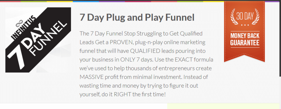 A proven funnel guaranteed to bring in a steady stream of leads in only 7 days(7 Day Plug and Play Funnel)