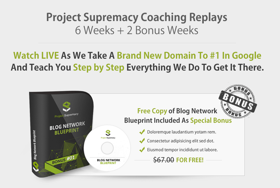 8 amazing weeks of SEO coaching covering A-Z(Project Supremacy)