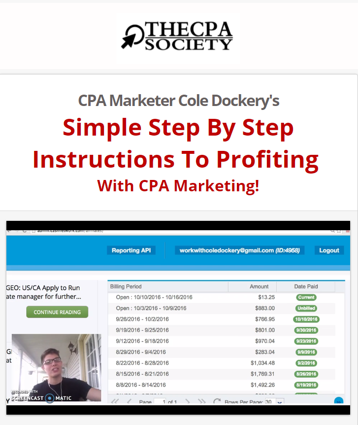 Simple Step By Step Instructions To Profiting  With CPA Marketing!(The CPA Society)