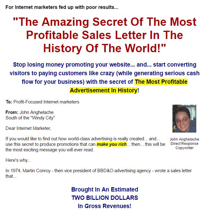 世界上最最赚钱的推销信(Sales Letter)的神奇秘诀(Copywriting Crash Course)