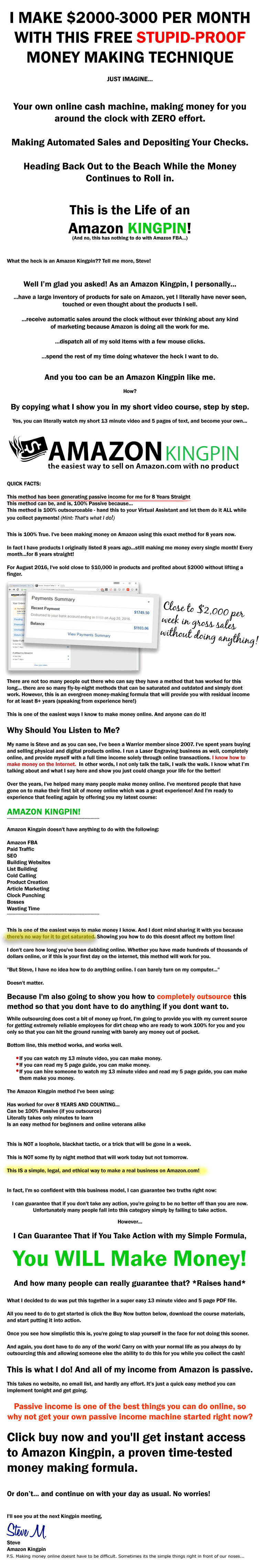 亚马逊上100%外包销售产品每月收入$2000-$3000 (Amazon Kingpin)