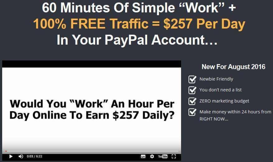 60分钟的简单工作 + 100%的免费流量 = 在你的Paypal账户里每天257美元(Commissions Doubler)