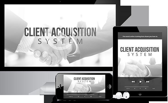 五周在线课程专门为咨询师、教练和专业服务提供商提供(Client Acquisition System)