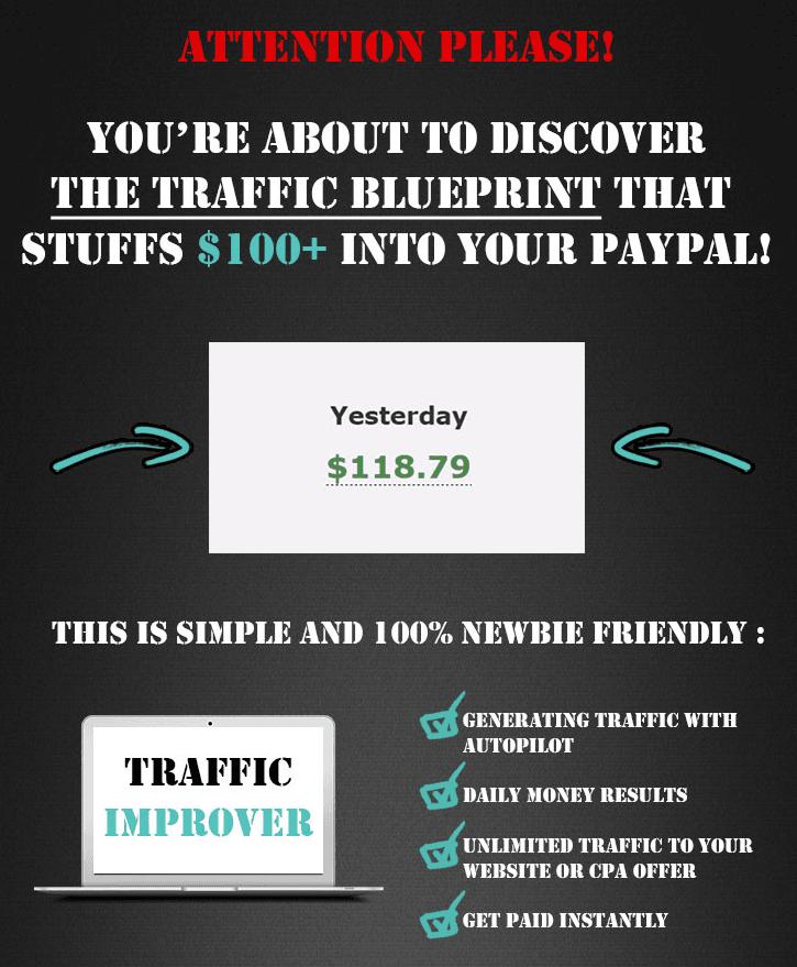 一个尝试和测试解决被动收入而没有任何风险的流量策略方案(Traffic Improver)