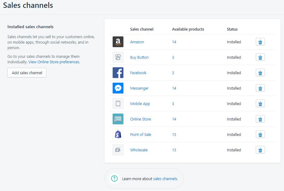 Shopify平台注册开店零基础入门教程 – Shopify产品单个上传 – 销售渠道Sales Channels设置