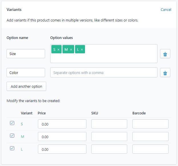 shopify平台注册开店零基础入门教程 – shopify单个产品上传 8 - Shopify平台注册开店零基础入门教程 – Shopify单个产品上传 – 变体产品设置 Variants