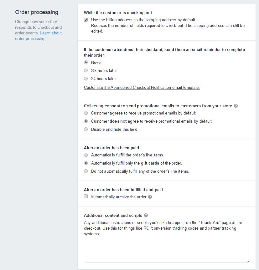 Shopify开店建站营销推广卖家平台后台中文指南 – Checkout / Shopify的结账设置