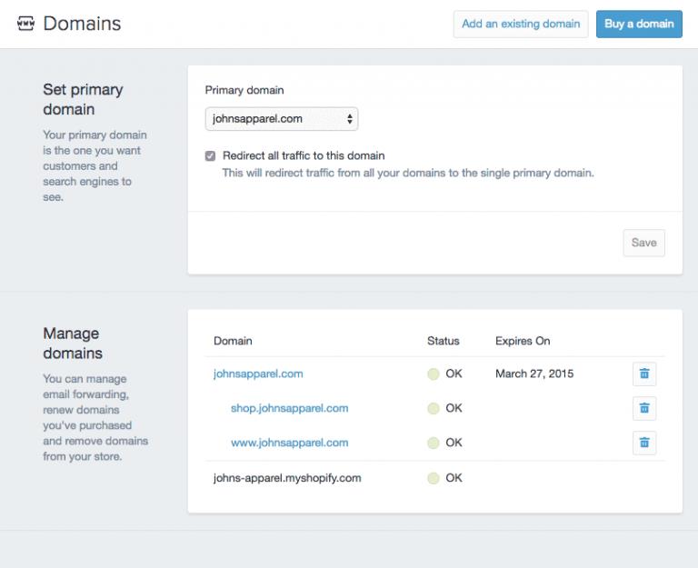 Shopify开店建站营销推广卖家平台后台中文指南 – Domains/独立域名