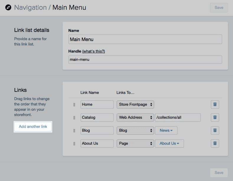 shopify开店建站营销推广卖家平台后台中文指南 – navigation导 1 - Shopify开店建站营销推广卖家平台后台中文指南 – Navigation/导航设置与管理