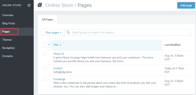 Shopify开店建站营销推广卖家平台后台中文指南 – Pages/页面管理