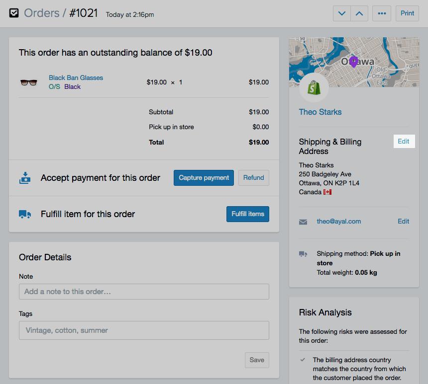 Shopify开店建站营销推广卖家平台后台中文指南 – Processing an order / 处理订单