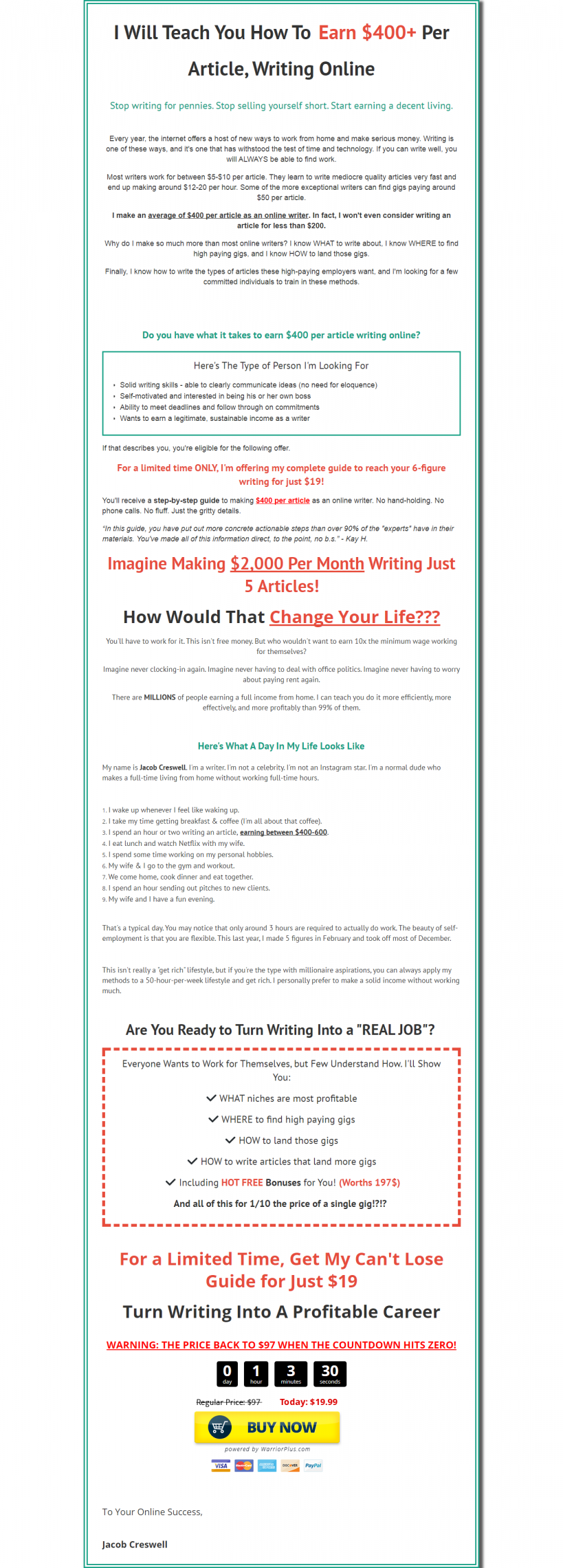 教你如何线上撰写文章并且每篇文章赚取400美元以上(3 Figures Writing Profits)