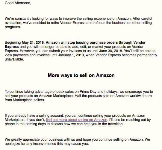 终于可以不被AMAZON VE跟卖了,亚马逊将关闭Vendor Express账号!
