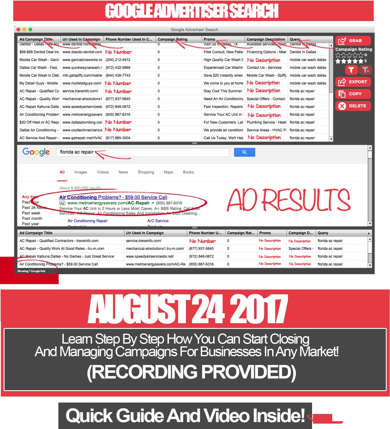 如何在任何市场上自动搜索谷歌Adwords广告商的广告数据以作研究(Google Advertiser Search)