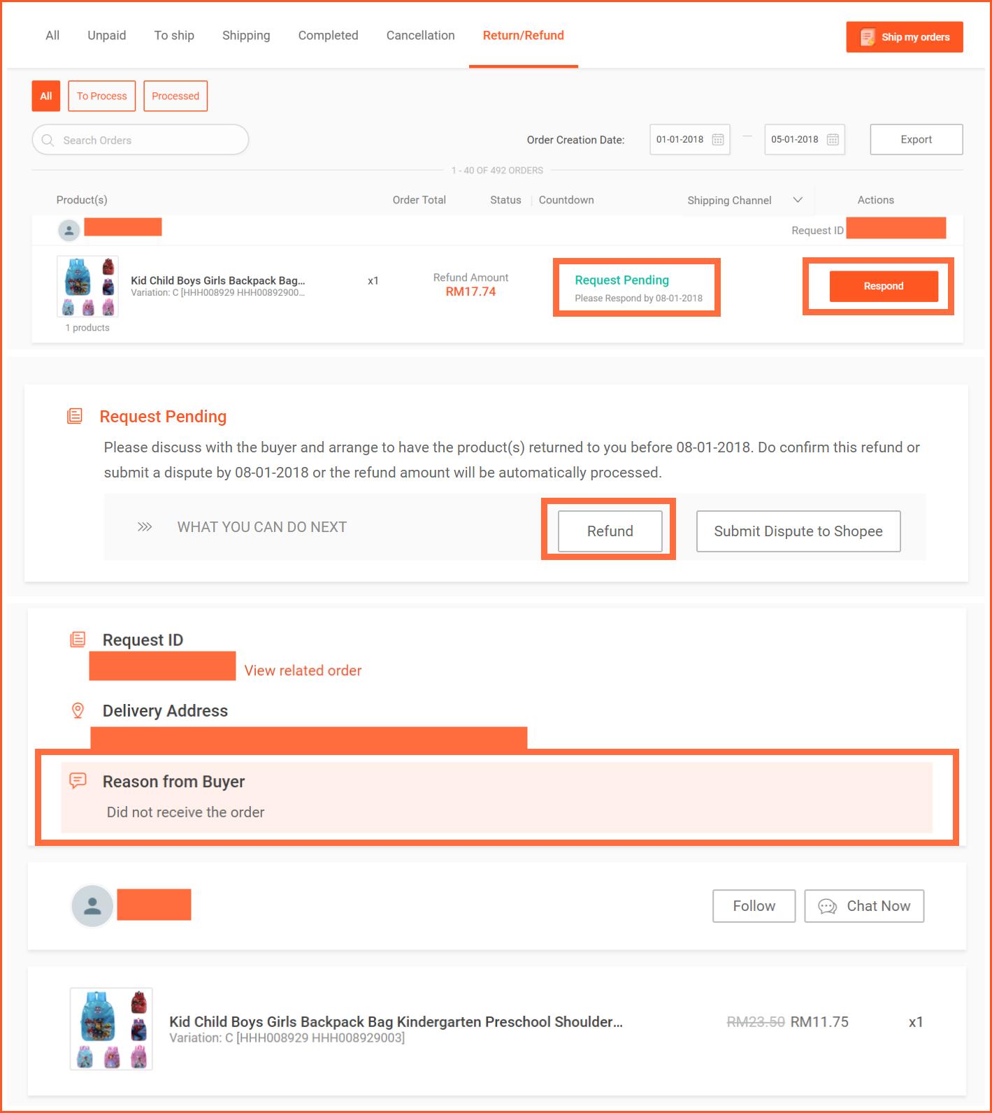 虾皮购物(Shopee电商平台)从商家帐号注册入驻卖家平台到运营教程 – 订单管理与售后 退款退货