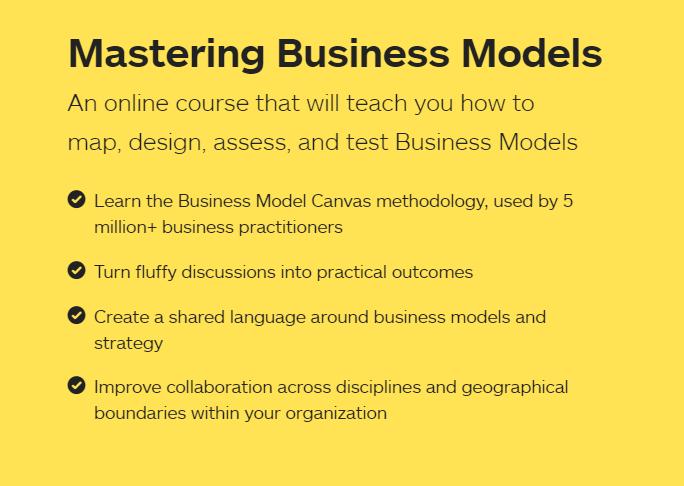 教你如何绘制、设计、评估和测试商业模型的在线培训课程(Mastering Business Models)