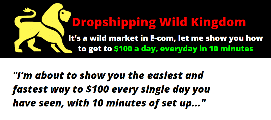 美国Dropshipper揭秘:只需要10分钟的时间设置 - 最简单、最快的方法每一天收入100美元+(Dropshipping Wild Kingdom)