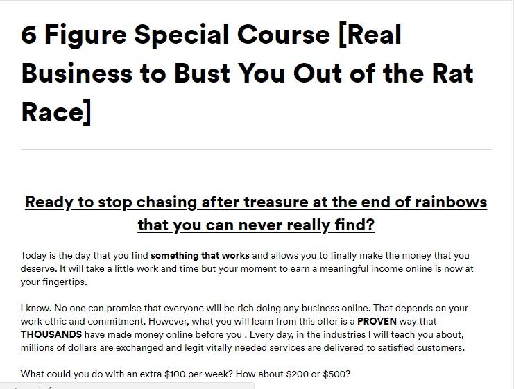 一个简单的培训系统,给你所有的技能知识和资源,你只需要在网上赚钱。(6 Figure Special)