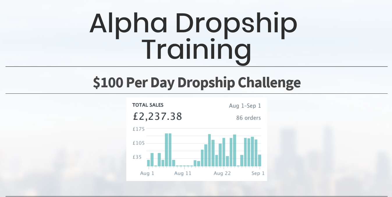$100 per day drop ship challenge.(Alpha Dropshipping Training)