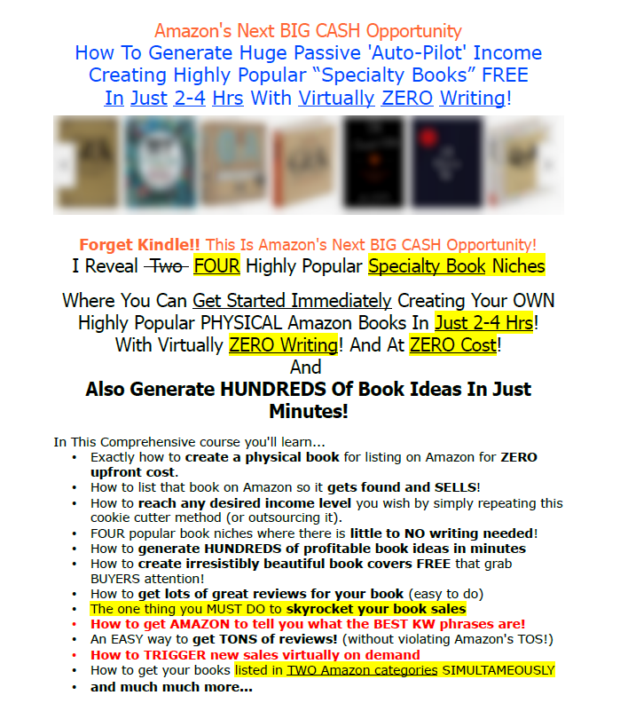 CREATE HIGH PROFIT AMAZON BOOKS IN 1-2 HOURS! WITH VIRTUALLY ZERO WRITING! FOUR HOT NICHES REVEALED!(Create High Profit Amazon Books In 1-2 Hours)