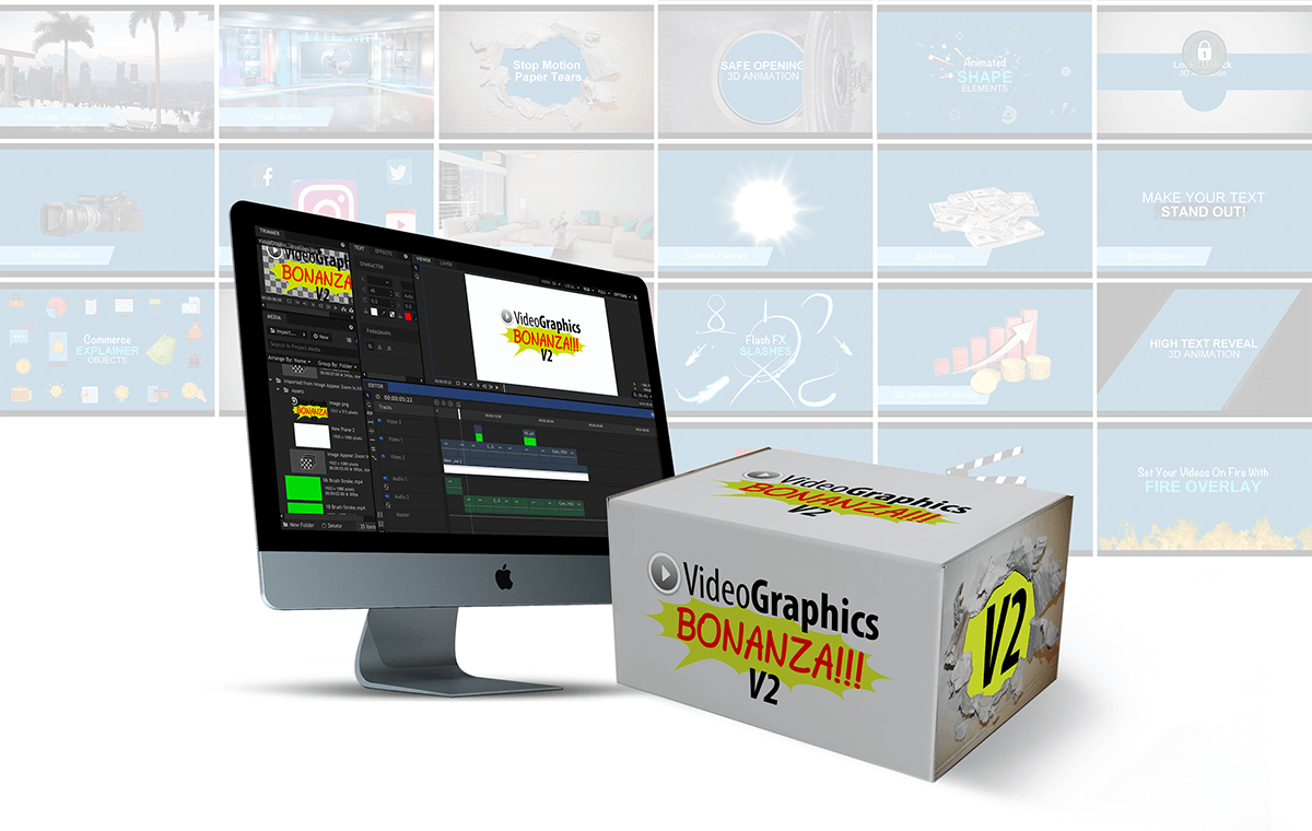 Looking for QUALITY Graphics For Your Videos?  Grab 21 Modules & $6,300 Worth  In Premium Video Graphics Assets...  And Make Your Videos Look Awesome!(Video Graphics Bonanza V2)