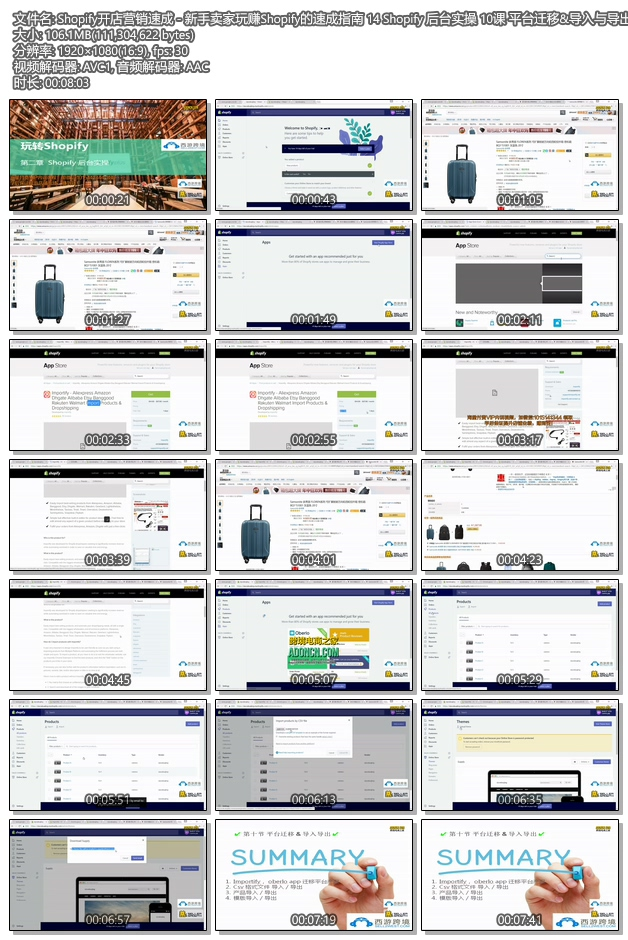 Shopify教程 - SHOPIFY注册开店建站运营营销推广教程 Shopify后台实操 10课 平台迁移&导入与导出
