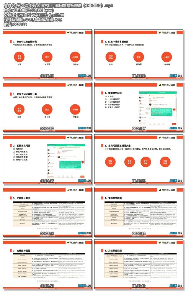 虾皮购物教程 第09课 虾皮客服常用问题回复模板赠送(CHN-ENG)