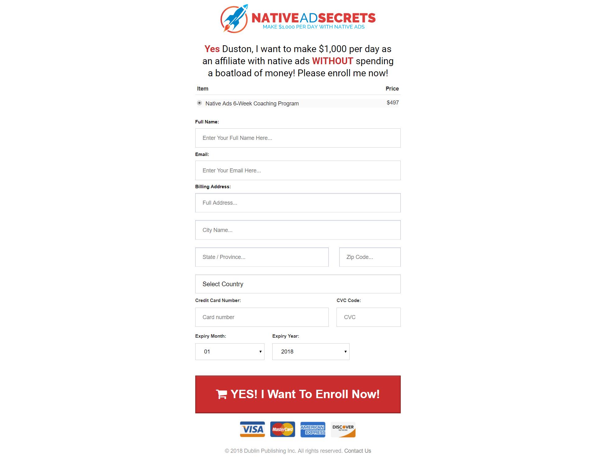 你愿意每天通过原生广告赚00美元而不花很多钱吗?(Native Ads 6-Week Coaching Program)