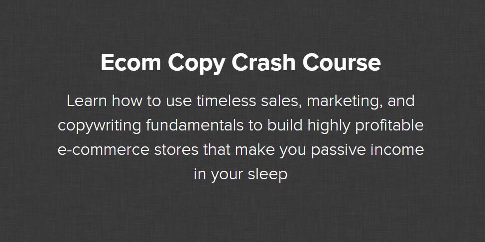 学习如何利用不受时间影响的的销售、市场营销和文案基础来建立高利润的电商网店,让你在睡梦中获得被动收入。(Ecom Copy Crash Course)