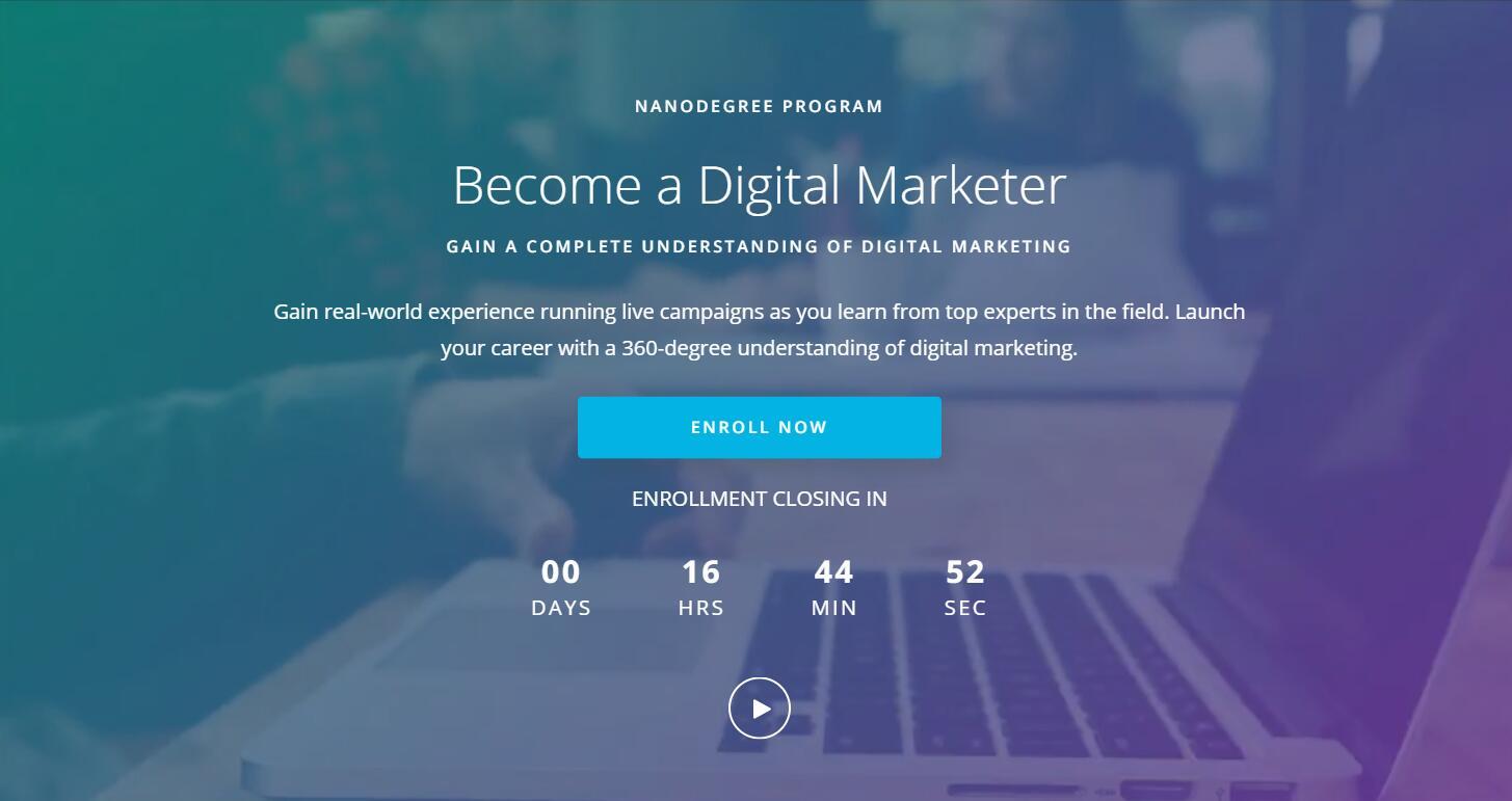 超级庞大的系统课程 - 全面了解数字营销!(Digital Marketing Nanodegree v3 )