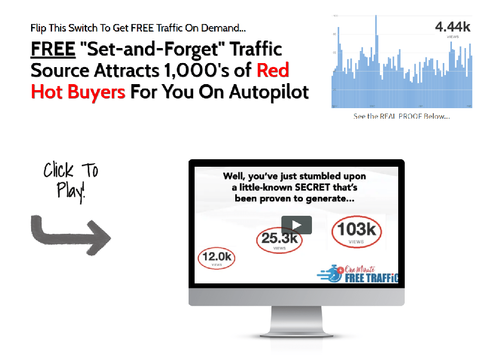 免费的自动引流策略:Free set-and-forget traffic source attracts 1,000's of red hot buyers for you on autopilot.(One Minute Free Traffic)