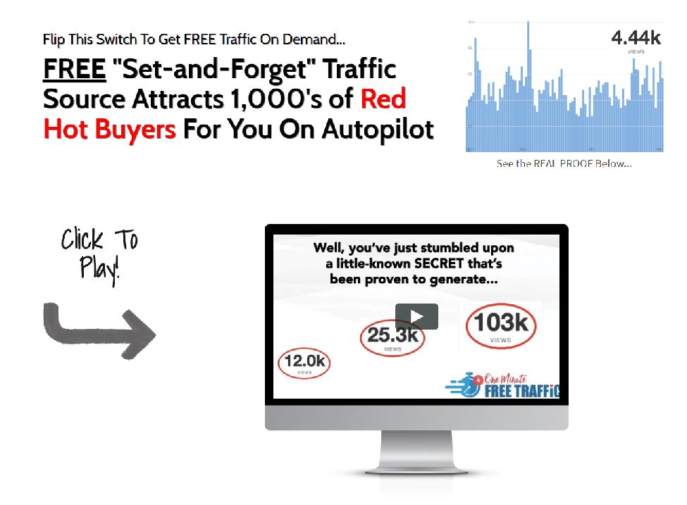 免费的自动引流策略:Free set-and-forget traffic source attracts 1,000's of red hot buyers for you on autopilot.(One Minute Free Traffic)