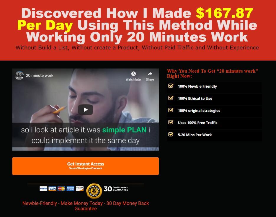 这个方法分为3个简单的步骤,很容易做和遵循,任何人都可以做这个,能在20分钟内完成所有的事情。(20 Minutes Work)