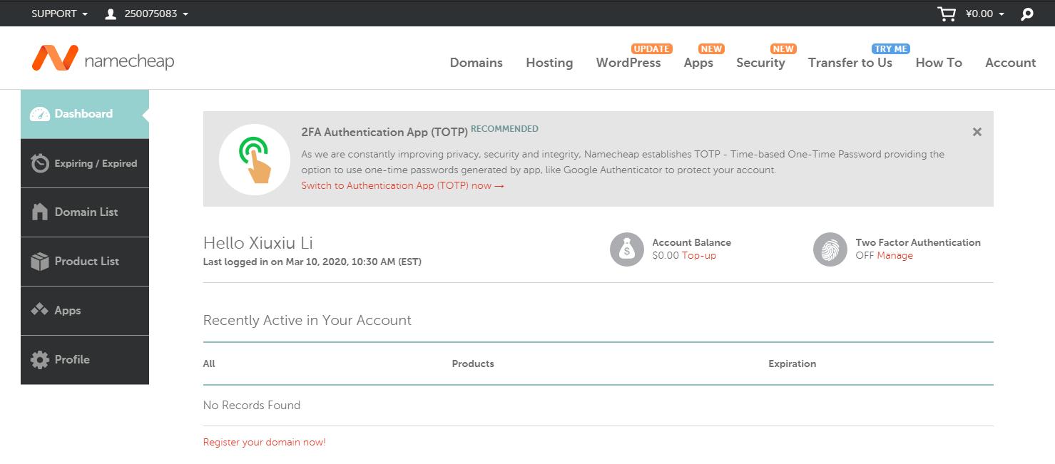 NAMECHEAP申请域名新手教程 – 如何注册NAMECHEAP账户 并 获取最新NAMECHEAP优惠码