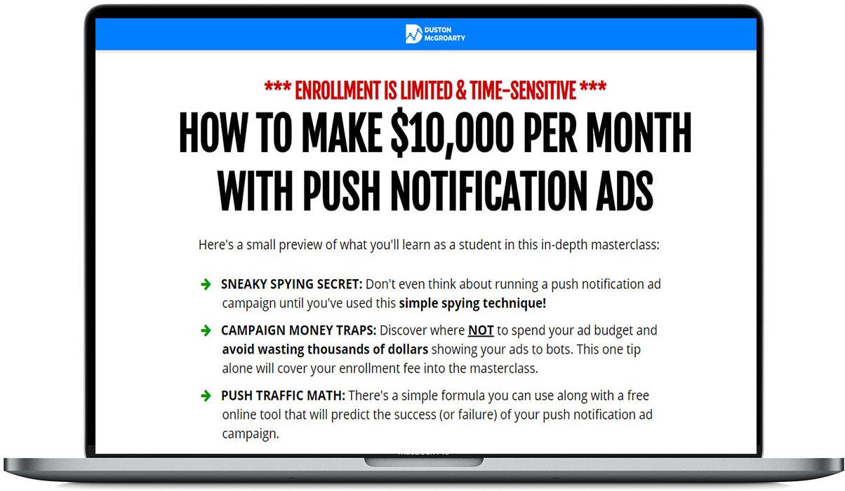 了解如何使用推送通知广告 Push Ads 每月赚取10,000美元(Push Ads Masterclass)
